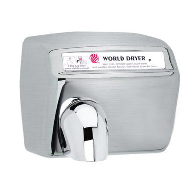 World Dryer Model A 240V Brushed Stainless Hand Dryer
