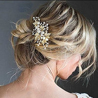 Aukmla Bridal Hair Barrette Set Wedding Hair Slides Leaves Rhinestones Barrette Hair Clips for Women and Girls (Set of 2) (Gold Color)