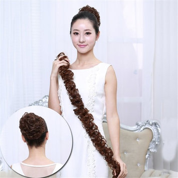HAIQUAN Human Hair Ponytail Extension Elastic Wraped Dark Brown Curly Hair Pieces Nature Looking Super Light