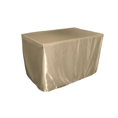 LA Linen TCbridal-fit-48x24x30-TaupeB13 Fitted Bridal Satin Tablecloth Taupe - 48 x 24 x 30 in.