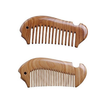 Pack of 2 100% Handmade Natural Green Sandalwood Hair Combs-Exquisite Fish Shapes Hand-sized Anti-Static Hair Detangler Wooden Pocket Comb-Wide Tooth & Fine Tooth Hair Combs