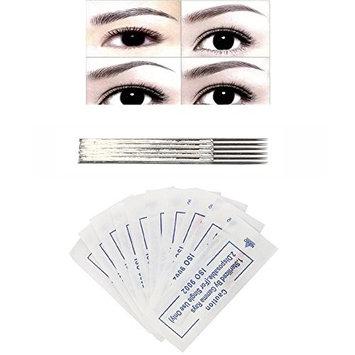DZT1968 10pcs Permanent elastic Makeup Eyebrow Tattoo Microblading Eyebrow 6 Rows Round 3 Needle