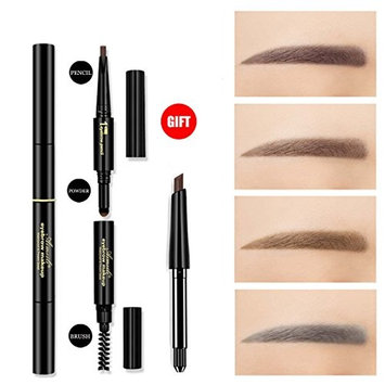 3 in 1 Automatic Eyebrow powder&Eyebrow brush &Automatic Eyebrow pencil with a refill pencil Professional 3D Eyebrow Cosmetic Makeup Tool Waterproof &Long-lasting light grey#4