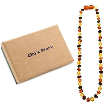Baltic Amber Teething Necklace Raw for Baby (Unisex)(Multicolor Raw)(13 Inches) - Baby Gift Sets - Natural Anti Inflammatory Beads.Teething Pain Reduce Properties