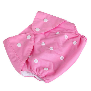 [QianQuHui] 0-3 Years Old Baby Reusable Nappies Adjustable Washable Breathable Cloth Diapers Cover Training Shorts Button Pink Winter