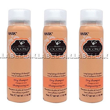 [ TRENDING PACK OF 3 TRAVEL SIZE ] HASK DRY SHAMPOO COCONUT 1.7 OUNCE EA: Beauty