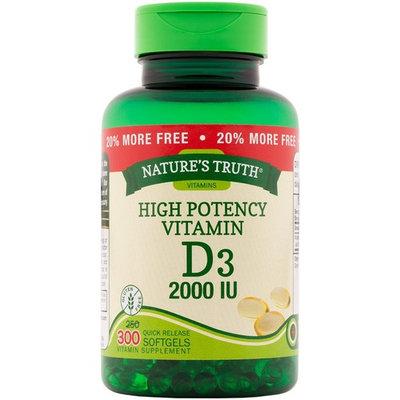 Nature's Truth Vitamin D3, 2,000 IU, Bonus, 250+50 Count [2,000 IU]