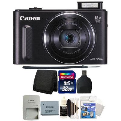 Canon PowerShot SX610 HS 20.2MP 18x Optical Zoom Wifi Digital Camera (BLACK) with 32GB Top Accessory Bundle