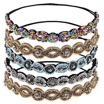 Genenic Rhinestone Beads Headband, 5 Pieces Women Handmade Crystal Beaded Elastic Hair Bands Hair Accessories(Random Sent)