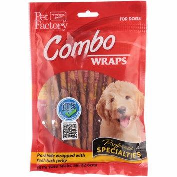 Pet Factory Combo Wraps Porkhide Twist Sticks Wrapped w/ Duck Jerky, 5in 18ct