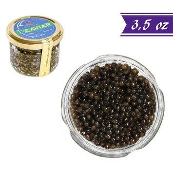 Kaluga Sturgeon Amber Caviar, Huso Dauricus, River Beluga, 3.5 oz / 100 gm Jar plus Mother of Pearl Caviar Spoon, Royal Gourmet Imperial Kaluga Caviar, Light-Salted, Farm Raised, OVERNIGHT SHIPPING