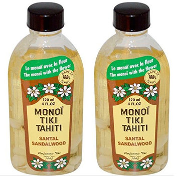 Monoi Tiki Tahiti Sandalwood Coconut Oil (Pack of 2), Scented With Fresh Handpicked Tiare Flowers, 100% Made in Tahiti, 4 fl. oz.