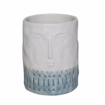 Benzara Dreamy Face Ceramic Flower Pot In Blue And White