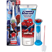 Super Hero Inspired 3pc Bright Smile Oral Hygiene Set! Spider-Man Turbo Powered Toothbrush, Toothpaste & Mouthwash Rinse Cup! Plus Bonus