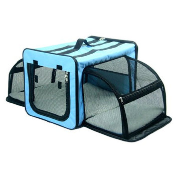 Pet Life Capacious Dual-Expandable Wire Dog Crate Blue