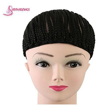 2pcs Cornrow Wig Cap For Making Wigs Adjustable Black Color Crochet Braided Weaving Ventilated Cap Lace Elasti Hairnet Hair Styling Tool