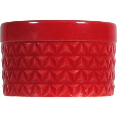 Candle Lite Better Homes & Gardens Red Ceramic Candle, 9 oz, 3 wicks, Spicy Cinnamon Stick Fragrance