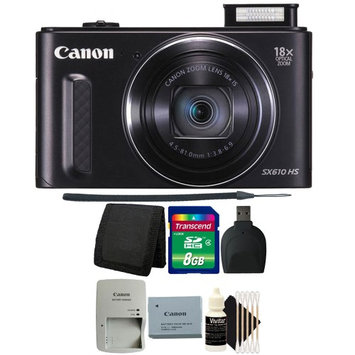Canon PowerShot SX610 HS 20.2MP 18x Optical Zoom Wifi Digital Camera BLACK with 16GB Memory Card, Wallet, Reader and 3pc Cleaning Kit