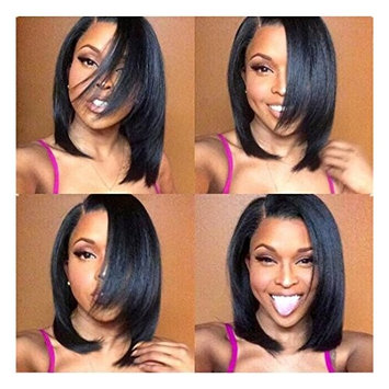 Glory Beauty Natural Hairline Short Human Hair Lace Front Wig Yaki Straight Malaysia Hair Short Bob Lace Wigs with Baby Hair for Black Women