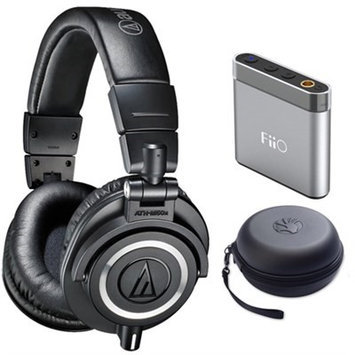 Audio-Technica ATH-M50X Professional Studio Black Headphone w/ Slappa Case + M-Audio Amp Bundle