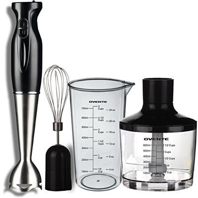 Ovente HS685B 6-Speed 500 Watt Immersion Hand Blender with Food Chopper, Beaker and Whisk Attachment, Black []