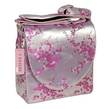 DiaperBagsNow Silk Satin Messenger Diaper Bag (Light Pink Cherry Blossom Diaper Bag)