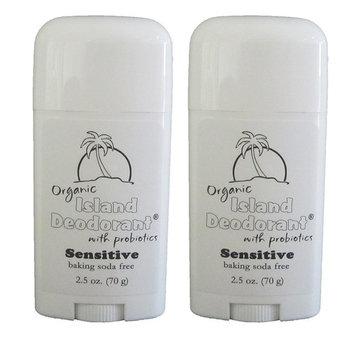 Organic Island Deodorant Baking Soda Free with Probiotics for Sensitive Skin 2.5 oz Stick, Natural with Magnesium, Arrowroot, Kaolin Clay, Zinc Oxide, Aluminum-free, Unscented, Vegan (Two Sticks)