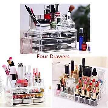 Acecor 2 Tiers Cosmetic Drawers Clear Acrylic Makeup Cosmetic Drawers Home Storage Containers