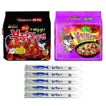 Samyang Spicy Chicken Ramen, BULDAK & MALA, Pack of 10, With 5 Fish Logo Chopsticks (BULDAK - MALA)