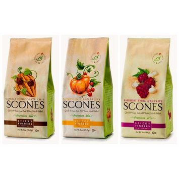 Sticky Fingers Fall/Winter Holiday Scone Mix Bundle #3 with Cocoa Chocolate Chip, Pumpkin Cranberry, and Raspberry White Chocolate Scone Mix, 16 Ounces Each (3 Bags Total)