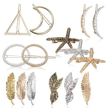 Cavetee Vintage Hair Clips, 15 Pieces Hair Barrettes for Women Girls, Stylish Shaped Leaf Moon Circle Triangle Starfish Gold Silver Hair Pins