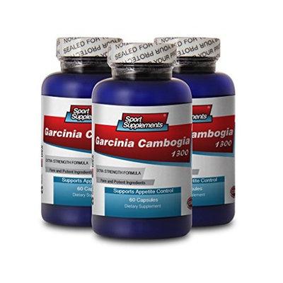 PURE GARCINIA CAMBOGIA PREMIUM EXTRACT 1300 - Suppress appetite - 3 Bottles 180 Capsules