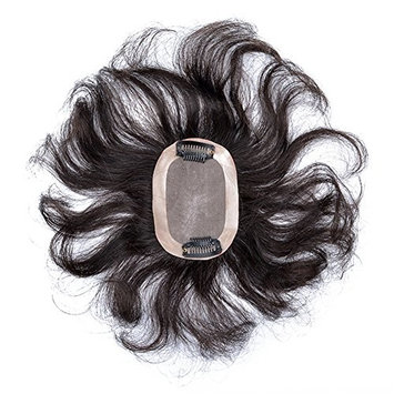 Wavy Curly Human Hair Crown Toppers Clips in Toupee Hairpiece Wiglet for Thin Hair (8