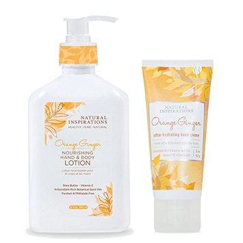 Natural Inspirations Hand & Body Lotion and Hand Creme Gift Set - Orange Ginger [Orange Ginger]