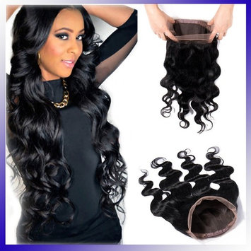 360 Lace Frontal Closure Body Wave 16inch Brazilian Virgin Human Hair Pre Plucked Free Part with Baby Hair Natural Hairline (Off Black #1B,130% Density)