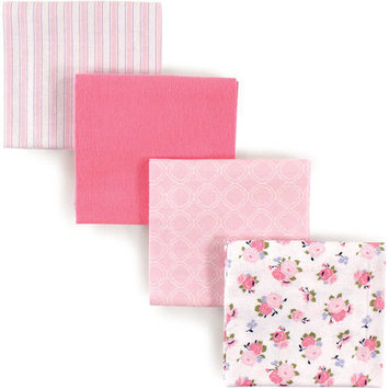 Luvable Friends Baby Boy and Girl Flannel Receiving Blanket, 4-Pack - Pink Garden