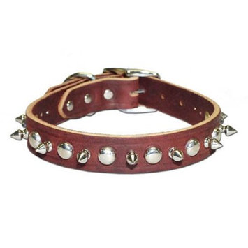 Leather Brothers Inc. 6081-PK22 Pink Signature Leather Spike and Stud Dog Collar