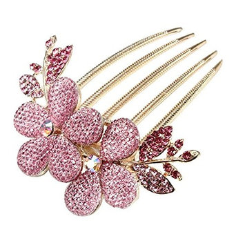 Urberry Starry Flower Pattern Alloy Rhinestone Barrette Hair Clip Comb for Women Girls