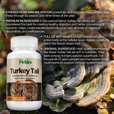 Premium Turkey Tail Mushroom Capsules by Parker Naturals Supports Immune System Health. Nature's Original Superfood. 120 Capsules