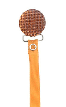 No Rust Quilted Crystal Pacifier Clip with Solid Ribbon
