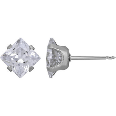 Home Ear Piercing Kit with Stainless Steel 7mm Square Clear CZ Single Earring