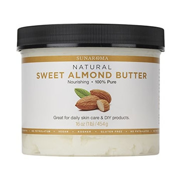 Sunaroma Sweet Almond Butter (16 oz) - Best Almond Butter for Skin Provides Deep Hydration and Helps Reduce Signs of Aging - Promotes Long, Shiny, Frizz-Free Hair - Great for Nail Care or DIY Projects