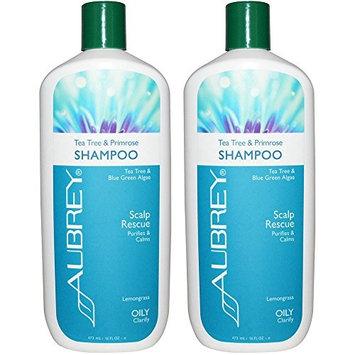 Aubrey Tea Tree & Blue Green Algae Natural Shampoo For Dandruff and Dry Flaky Scalp With Evening Primrose Essential Oil, Chamomile, Calendula and Vitamin C, 11 fl. oz. (Pack of 2)