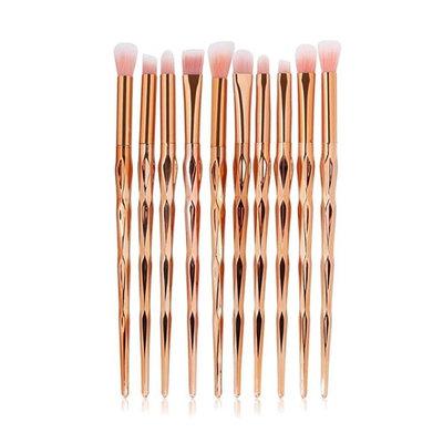 LHEI 10 Pcs Rose Gold Makeup Brush Set Professional Eye Makeup Brushes For Eyeshadow Concealer Eyeliner Brow Blending Brush Tool (Rose Gold, Promotion)