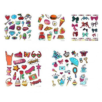 Grashine long last and realistic temp tattoo stickers 5pcs Cartoon tattoos for children fake tattoos in a packages,including ice cream,rose,butterflies,etc.