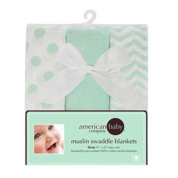 American Baby Company 100% Cotton Muslin 3 Piece Swaddle Blanket