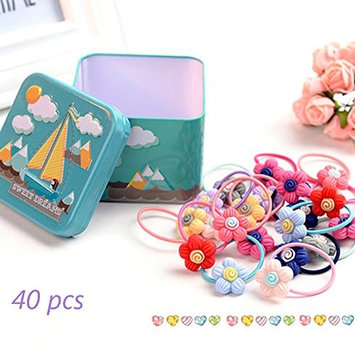 J-Beauty Baby Kids Girl Colorful Flower Hair Tie Bands Rope Clip 40 Pcs In One Metal Box