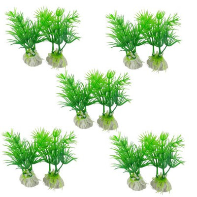 10 Pcs Lively Plastic Aquatic Plant Decor Green 3 3/10
