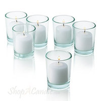 Light In The Dark Clear Glass Round Votive Candle Holders With White Votive Candles Burn 10 Hours Set Of 36