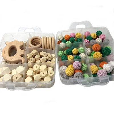 Amyster DIY Nursing Jewelry Combination Package Crochet Beads Blending Natural Round Geometry Wooden Beads Wood Ring Creative Freedom